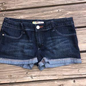Roxy short shorts with faux cuff dark denim sz 11